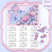 Delicate Roses 2018 A4 UK Calendar with Decoupage Kit