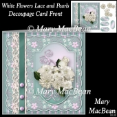 White Flowers Lace and Pearls Decoupage Card Front