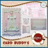 Girl Christening/ Baptism/ Naming Scalloped Fold Card Kit