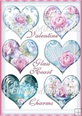 Valentine Roses Glass Heart Charms