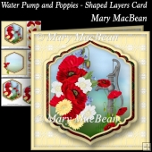 Water Pump and Poppies - Shaped Layers Card