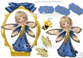 pretty faerie blue bow , buterflies and bumble bee