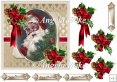 Santa Clause 7x7 card with decoupage