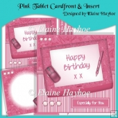 Pink Tablet Cardfront & Insert