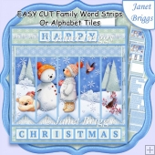 SNOWMAN & BEARS Easy Cut Word Strips or Alphabet Tiles Word Kit