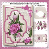 Pink Roses Diamond Fold Card Kit