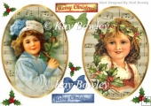 two vintage faded with music & girls christmas fronts