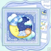 NEW BABY BOY ON MOON 8x8 Decoupage & Insert Kit