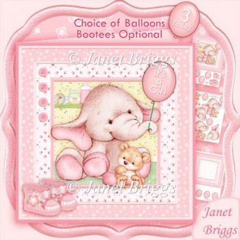 New Baby Girl Elephant 8x8 Decoupage Kit & Birthday Ages