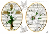 two lovely toppers of a gold cross & white lilies with doves