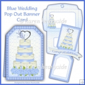 Blue Wedding Pop Out Banner Card