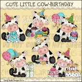 Cute Little Cow Birthday ClipArt Graphic Collection