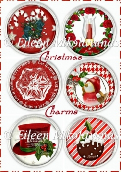 Traditional Round Christmas Charms for Cards, Tags, Crafts