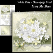 White Posy - Decoupage Card