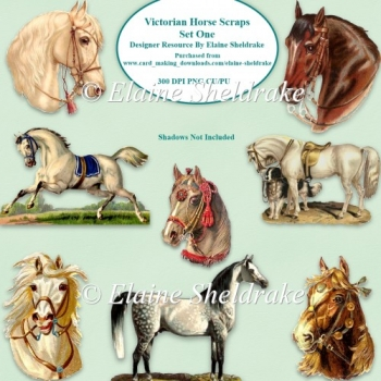 Victorian Horse Scraps Set One For Card Making Scrapbooking PNG