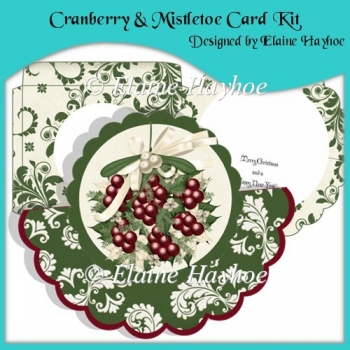 Cranberry & Mistletoe Shaped Over The Top Card with Decoupage