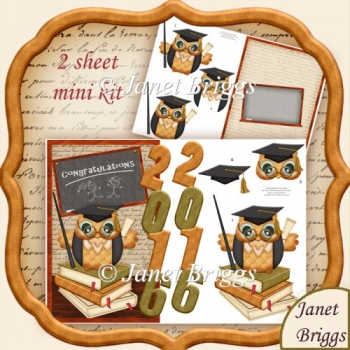 Graduation Owl 2016 Over the Side Decoupage Kit