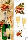 Champagne, butterflies and gold roses Tall DL