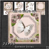 Vintage Lace Flowers Butterfly Card Kit 1248