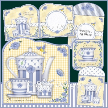 The Cup That Cheers, Card Kit with Teabag Wrapper and Coaster