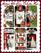 Cottage Chic CLASSIC RED ROSE Valentine Tags