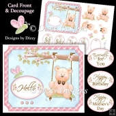 Swing Bear Card Front with Decoupage