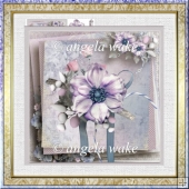 Purple flower 7x7 card and decoupage
