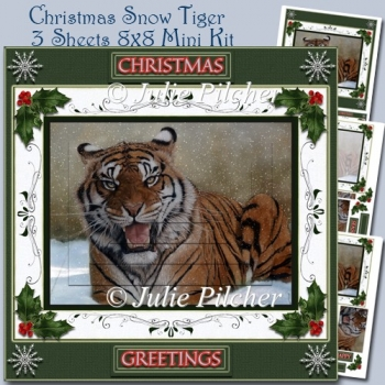 Christmas Snow Tiger - 8x8 Pyramage Mini Card kit with Decoupage