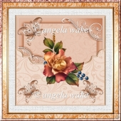 Autumn rose 7x7 card with decoupage and sentiment tags