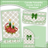 Candle Poinsettia Money Card & Envelope