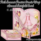 Pink Summer Pansies Ornate Wrap Around Gatefold Card