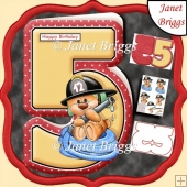 Age 5 Shaped Card Insert & Optional Fireman Ted Decoupage Kit