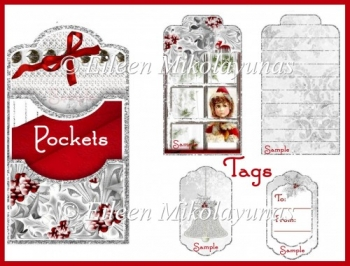 Vintage Christmas Child Double Pocket Library Card and Tags Set