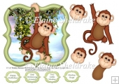 "Monkey Business - 6"" x 6"" Card Topper With Decoupage"