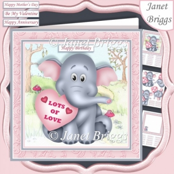 ELEPHANT & HEART 7.5 Decoupage & Insert Mini Kit All Occasions