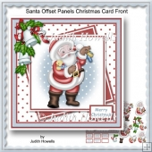 Santa Offset Panels Christmas Card Front
