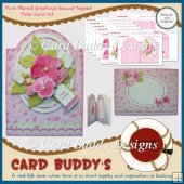 Pink Floral Greetings Round Topped Fold Card Kit