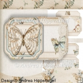 Scallop shaped Fold Card Vintage Butterfly