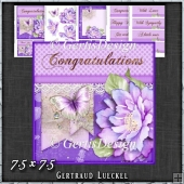 Purple Butterfly Flower Polkadots Card Topper Kit 1423
