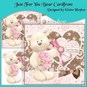 Just For You Bear Cardfront with Decoupage