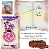 Large Fairy and Birthday Clock Candy Bar Pocket Card