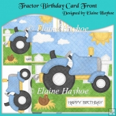 Tractor Birthday Card Front with Decoupage