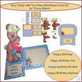 Boy Teddy with Toy Plane Mini Easel Card Set