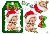 cute bear on a green tag with santa hat and bow