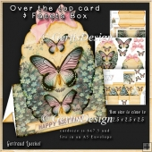 Over The Edge Card Kit little blue flowers