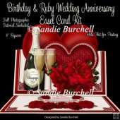 Birthday & Ruby Wedding Anniversary 8 x 8 Easel Card Kit