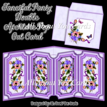 Fanciful Pansy Double Aperture Pop Out Card