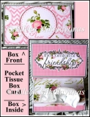 French Script Rose Pocket Tissue Box Card Set with Directions