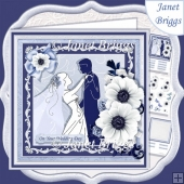 WEDDING BRIDE & GROOM Blue & Silver 7.8 Decoupage & Insert Kit