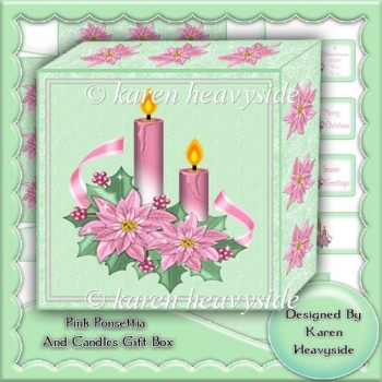 Pink Ponsettia And Candle Gift Box